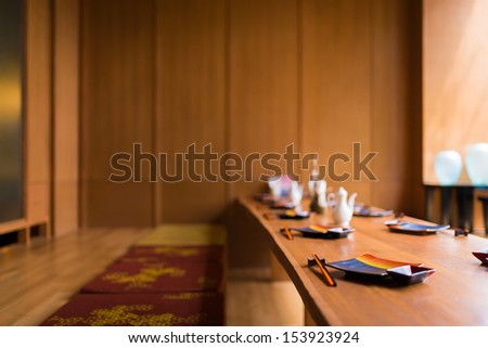 Japanese restaurant with earth tone wooden style - stock photo