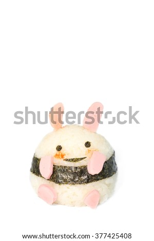 "Japanese Rice Ball ""Onigiri"" made into cute bunny isolated on white background"