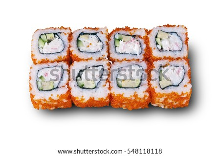 Japanese rolls with caviar and cucumber