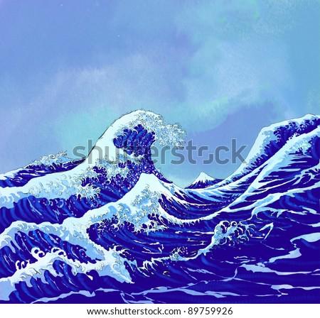 japanese sea waves with blue sky - stock photo