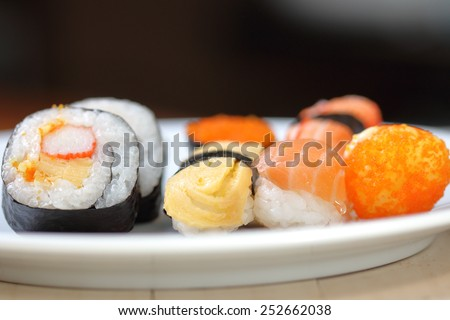 Japanese seafood sushi. - stock photo