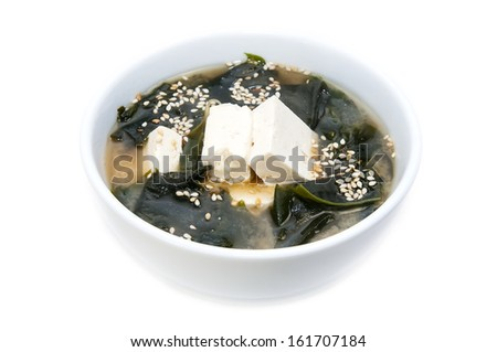 Japanese seaweed soup and cheese toffee - stock photo
