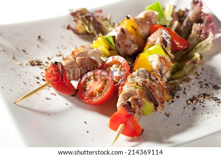 Japanese Skewered Chicken with Vegetables - stock photo