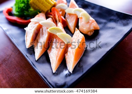 Japanese sliced salmon on plate