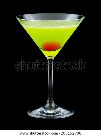 Japanese Slipper is a cocktail that contains melon liqueur, triple sec, freshly squeezed lemon juice and is garnished with a maraschino cherry