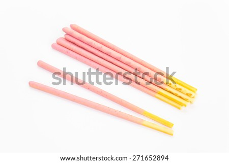 Japanese snack food biscuit stick strawberry coated on white background  - stock photo