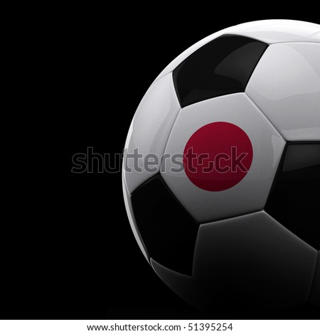 Japanese soccer ball on black background