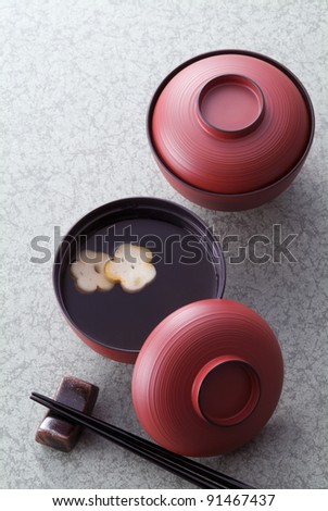 Japanese soup - stock photo