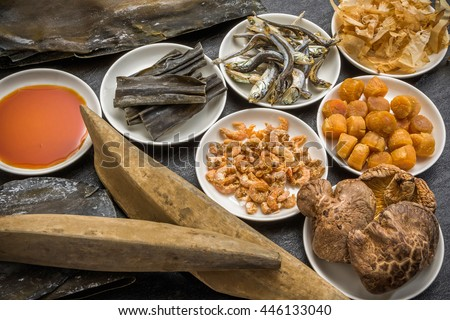 Japanese soup stock, dried bonito or dried small sardines - stock photo