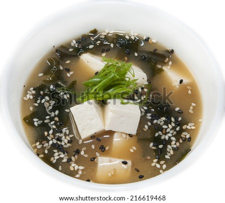 Japanese soup with beef and cheese on white background