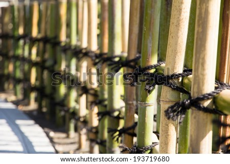 japanese style Bamboo fences in japan garden