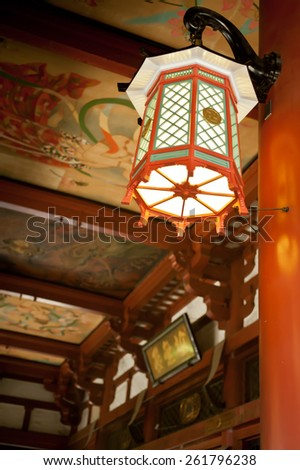 Japanese style decoration lamp in buddhist temple - stock photo