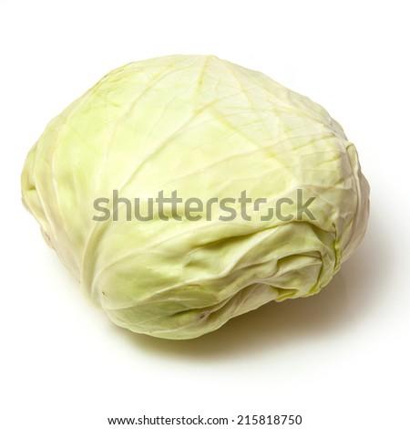 Japanese style flat white cabbage isolated on a white studio background, - stock photo