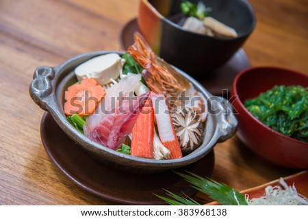 Japanese style food set, Sukiyaki soup