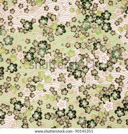 japanese style green  flower and wave paper texture/japanese seamless flowers pattern - stock photo
