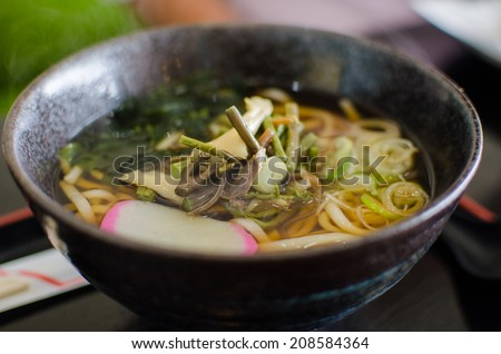 Japanese style noodle ramen with vegetable - stock photo