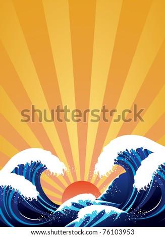 Japanese style wave illustration - stock photo