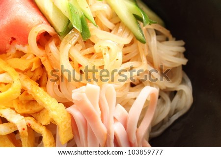 japanese summer cuisine, close up of cold noodle with cucumber and watermelon