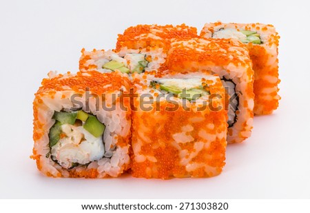 Japanese sushi and rolls California with vegetables, cheese, seafood isolated on a white background.  - stock photo