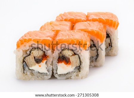 Japanese sushi and rolls Philadelphia with vegetables, cheese, seafood isolated on a white background.  - stock photo