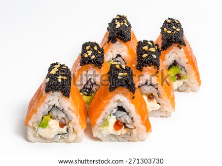 Japanese sushi and rolls with vegetables, cheese, seafood, salmon, caviar isolated on a white background.  - stock photo