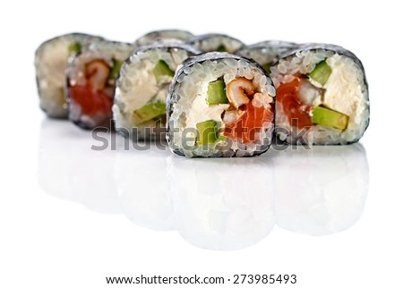 japanese sushi  isolated on a white reflexive background