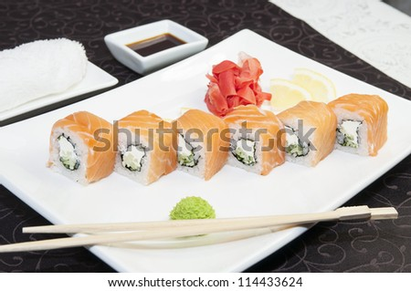Japanese sushi on a table in a restaurant
