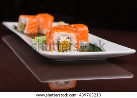 japanese sushi rolls on white plate