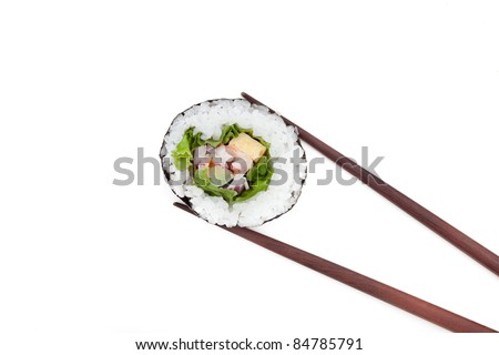 Japanese Sushi rolls with brown chopsticks isolated on white background - stock photo