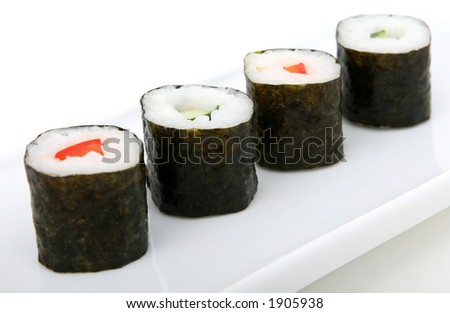 Japanese sushi seafood rolls with rice - stock photo