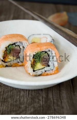 japanese sushi serve on white dish - stock photo