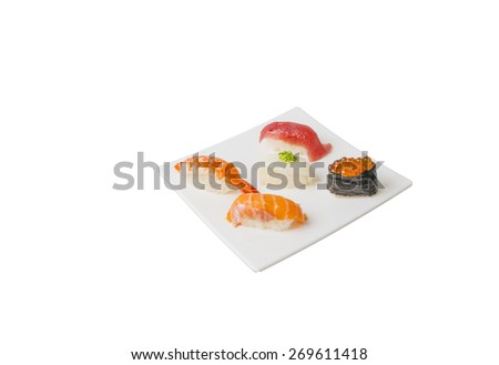 Japanese sushi set isolated on white background - stock photo