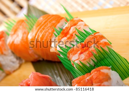 Japanese sushi . traditional japanese food.Roll made of salmon and prawn