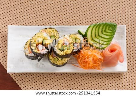 Japanese sushi with basmati rice, Japanese fusion food - stock photo