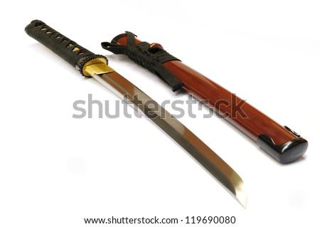 Japanese sword katana isolated on white - stock photo