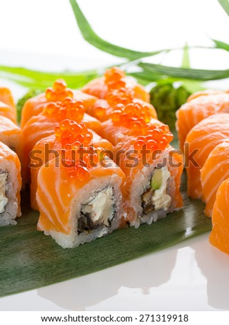 Japanese tasty sushi set - stock photo