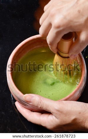 Japanese tea ceremony,Matcha tea prepared with bamboo whisk