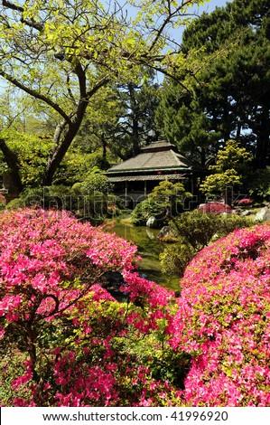 Japanese tea garden in Golden Gate Park San Francisco California - stock photo