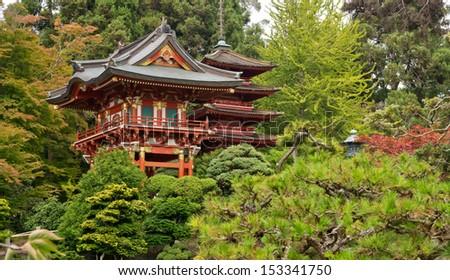 Japanese Tea Garden in the Golden Gate Park, San Francisco. California. USA - stock photo