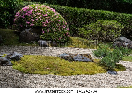 Japanese tea garden landscape - stock photo