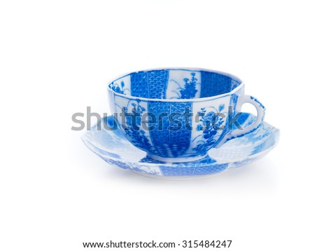 Japanese teacup on white background
