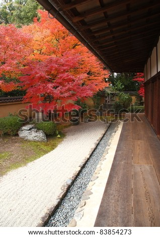 Japanese temple in Kyoto during the fall