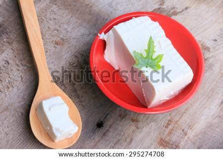 Japanese tofu on wood vintage - stock photo