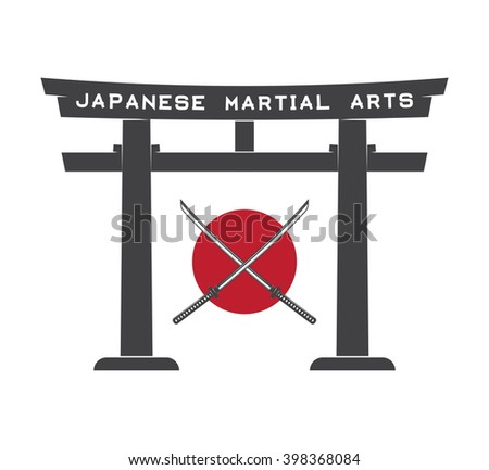 Japanese torii gate with japan flag and katana in vintage style. Illustration - stock photo