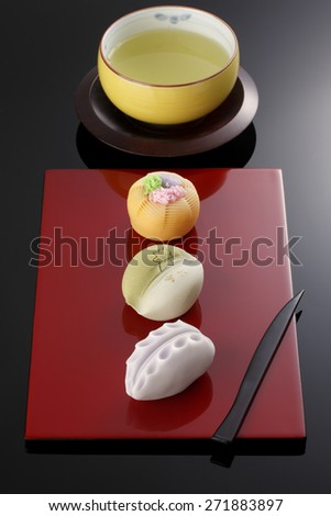 "Japanese traditional confectionery cake"" wagashi"" on lacquered plate"