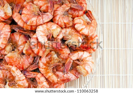 Japanese traditional cuisine. Fried shrimps - stock photo