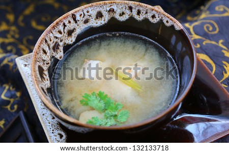 """Japanese Traditional Cuisine """"Miso Soup"""" with Tofu - stock photo"""