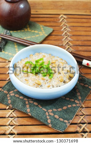 japanese traditional fermented soy beans natto - stock photo