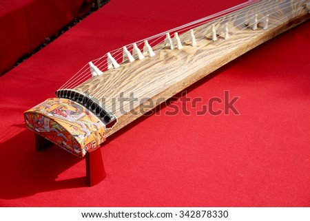 Japanese traditional instrument, Koto - stock photo