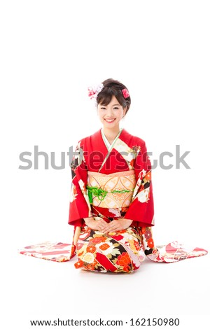japanese traditional woman sitting on white background
